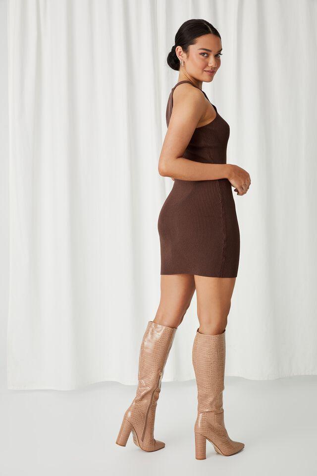 Helena Knit Mini Dress, CHOCOLATE
