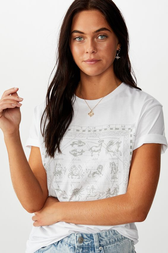 Lola Printed Longline Tee, WHITE/STAR SIGNS