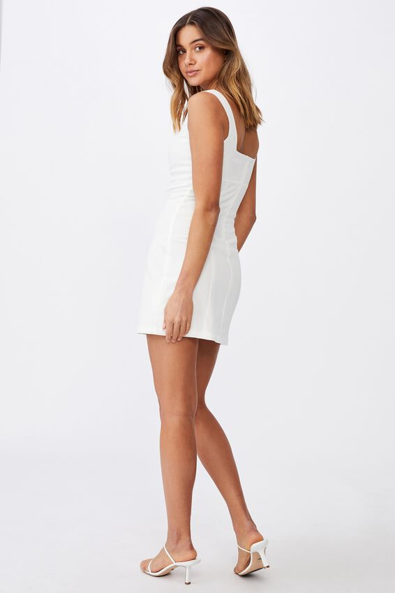 Capri Fitted Square Neck Mini Dress, WHITE