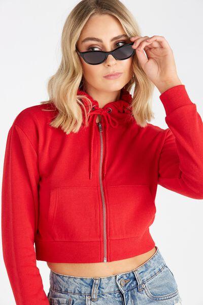 Cropped Zip Through Hoodie, RED