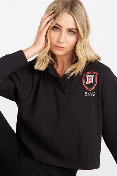 Long Sleeve Collared Rugby Top, BLACK/NORTH 1992