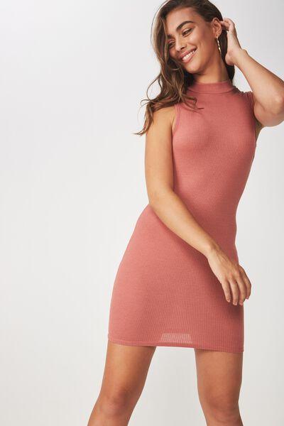 Layla Rib High Neck Mini Dress, TERRACOTTA