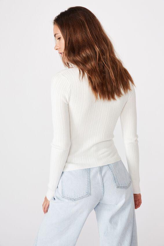 Monica High Neck Long Sleeve Knit, WHITE