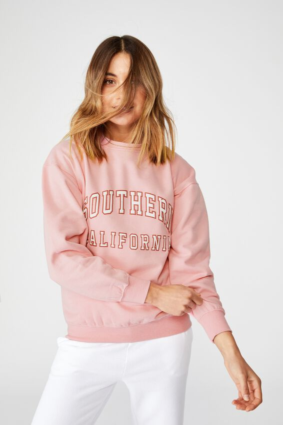 Oversized Crew Neck Jumper, ROSE BLOOM PINK/SOUTHERN CALIFORNIA