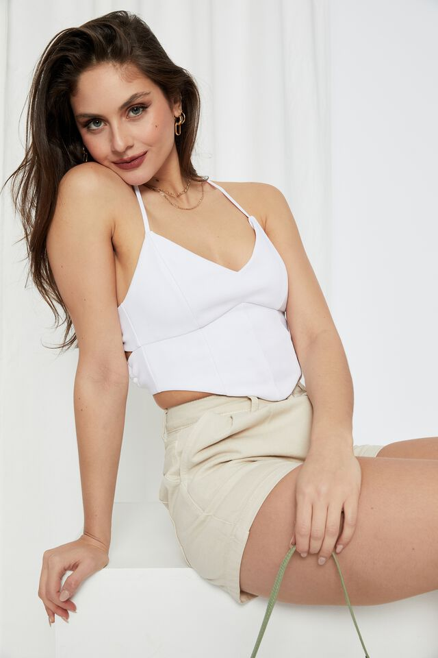 Molly Tie Up Backless Top, WHITE