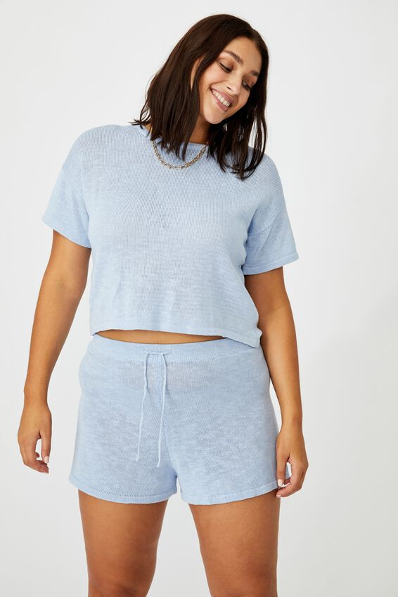 Brittany Knit Short Co Ord, BLUE PETAL