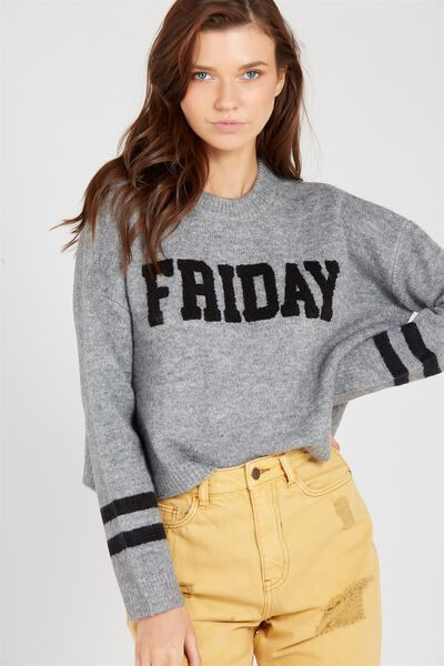 Cosy Graphic Knit Sweater, GREY