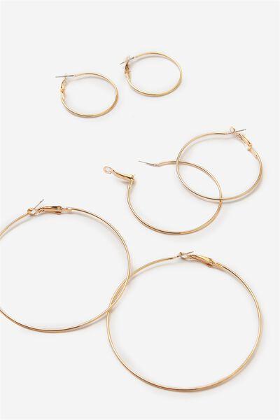 Trio Hoop Earring Pack, GOLD