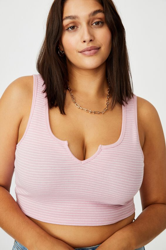 Laurel Notch Front Tank, TERI STRIPE (BLSM PINK/WHT)