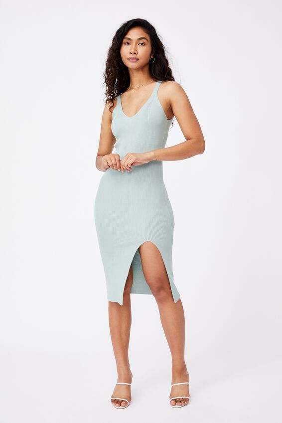 Ivory Knit Midi Dress, SOFT MOSS