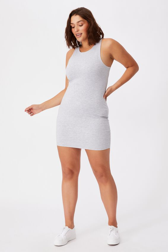 Lea Racer Back Mini Dress, GREY MARLE