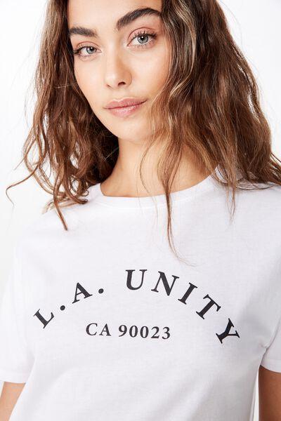 Lola Printed Longline Tee, WHITE/LA UNITY
