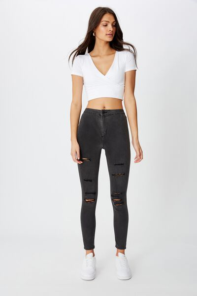 Super Skinny Sky High Ripped Jean, FADED BLACK