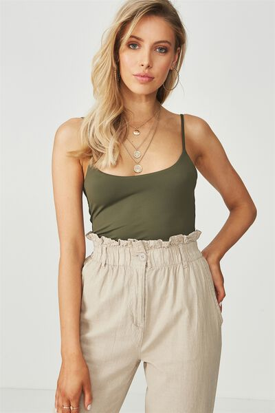 Party Scoop Neck Cami, KHAKI