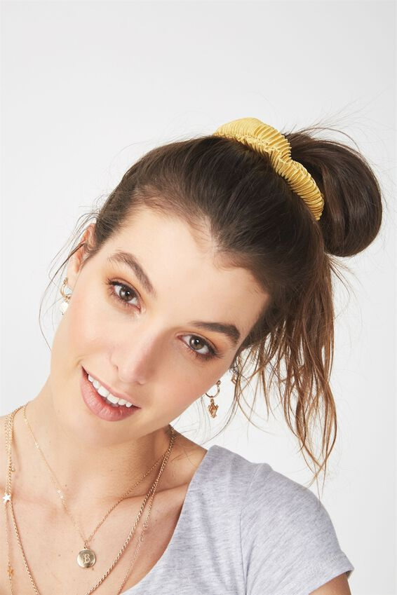 Pleated Scrunchie, PLEATED YELLOW