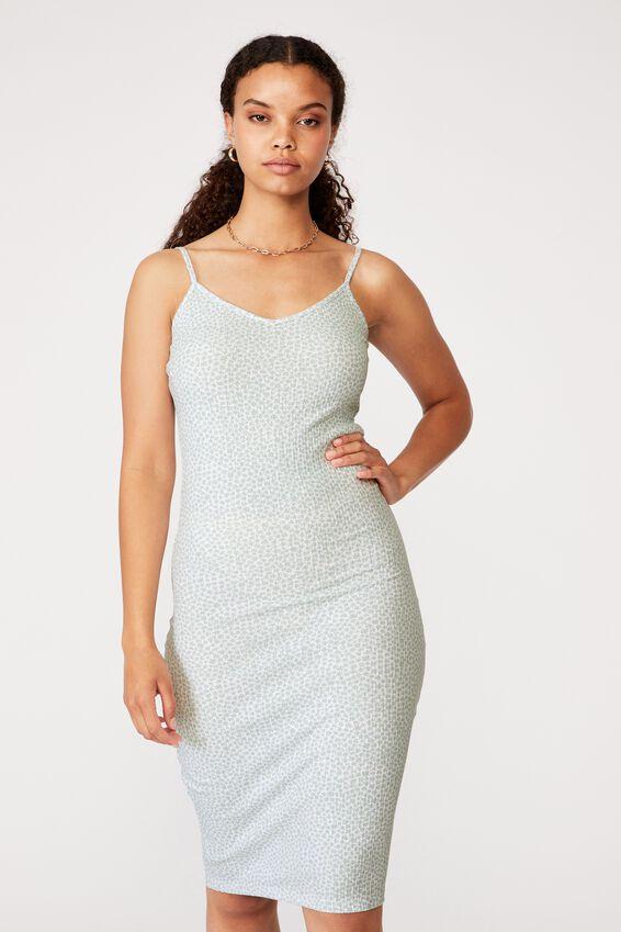 Georgia V Neck Midi Dress, DELTA DAISY MATCHA
