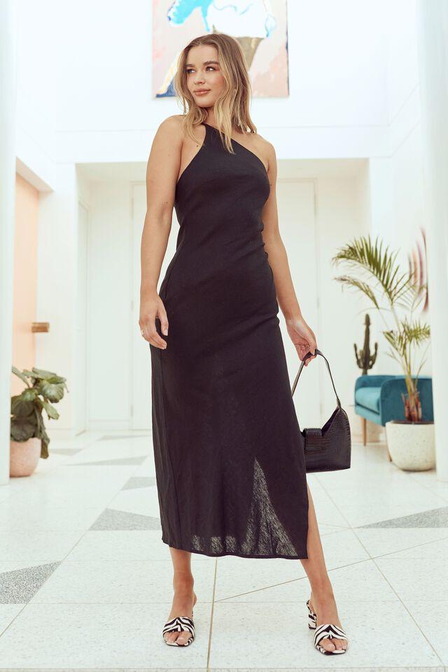 Kendall Linen Blend Maxi Dress, BLACK