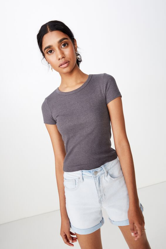 Zoey Midi Length Rib Tee, GRANITE GREY MARLE