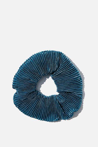 Plush Scrunchie, PLEATED METALLIC BLUE JADE