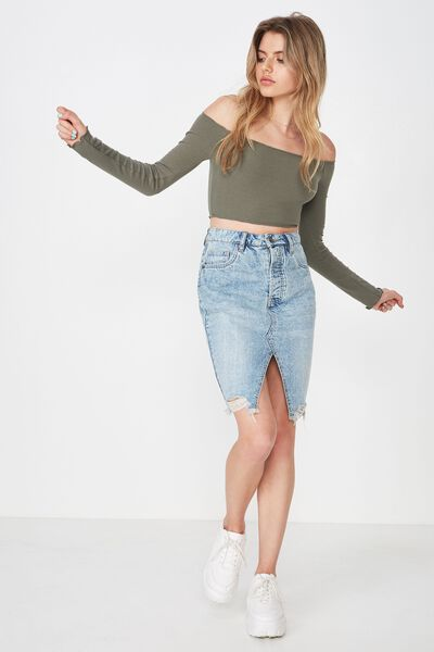 Off Shoulder Rib Crop, GUM LEAF KHAKI