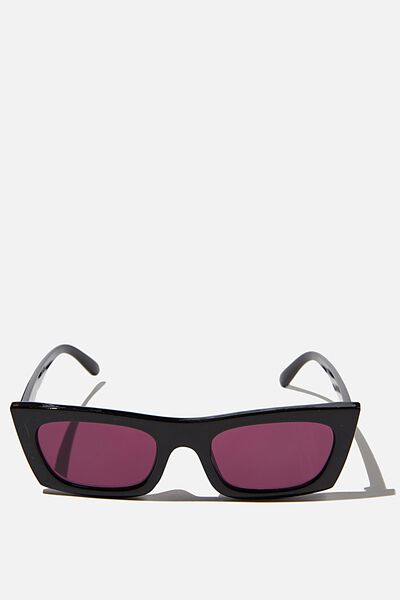 Annika Rectangle Sunglasses, BLACK