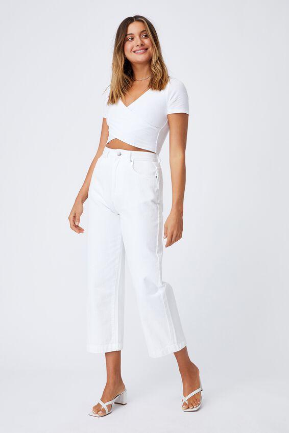 Lillian Wrap Short Sleeve Top, WHITE