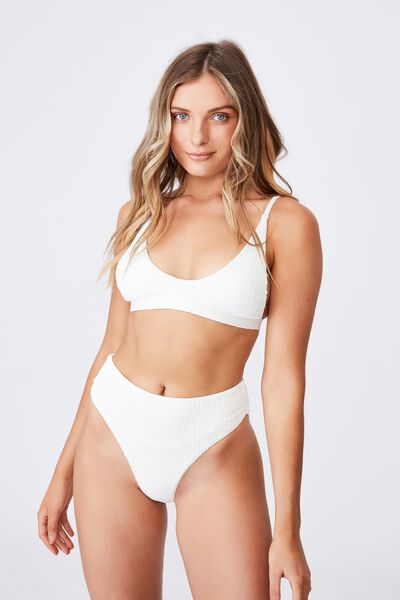 Santa Barbara High Waist Bikini Bottom, WHITE/SHIRRED