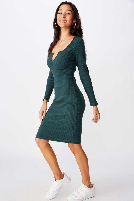 Seline Notch Front Dress, FOREST GREEN