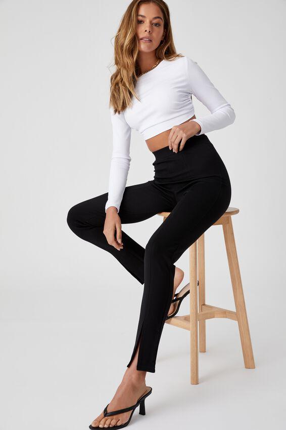 Ariella Split Hem Pant, BLACK