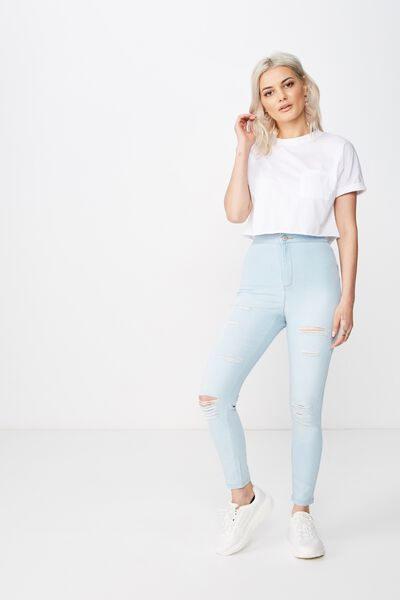 Short Super Skinny Sky High Ripped Jean, BLEACH BLUE