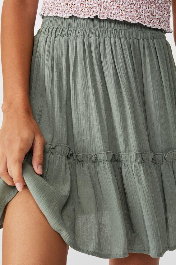 Kaiya Frill Hem Skirt, KHAKI