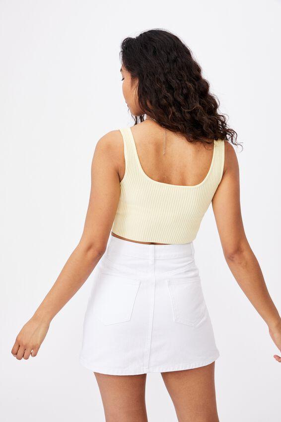 Ella Denim A-Line Skirt, WHITE