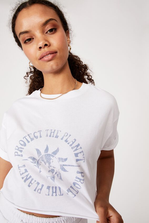 Tamara Printed Crop T Shirt, WHITE/PROTECT THE PLANET