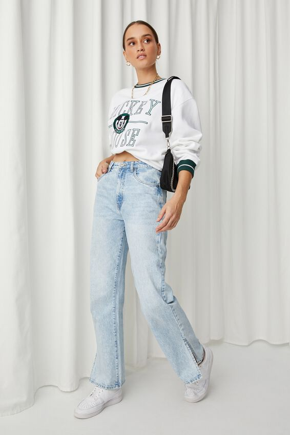 Mickey College Oversized Jumper, WHITE/LCN DIS MICKEY COLLEGE