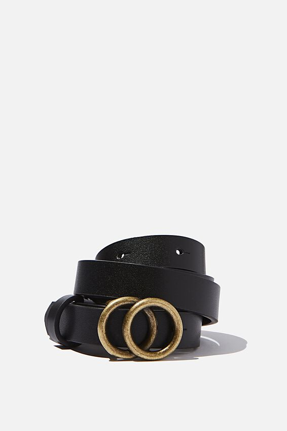 Small Double Hoop Belt, BLACK/ANTIQUE GOLD