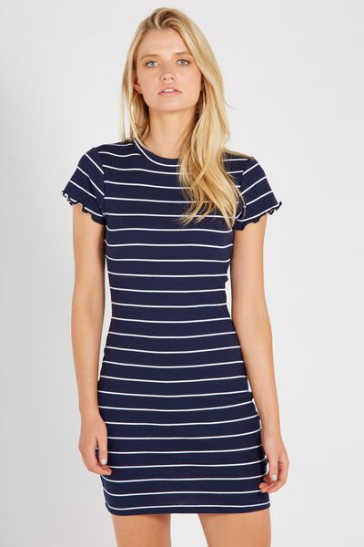 Rib Bodycon T-Shirt Dress, NAVY/WHITE STRIPE