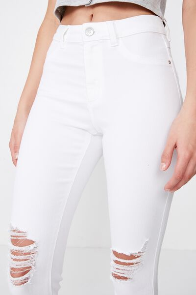Super Skinny Ripped Jean, WHITE RIPPED