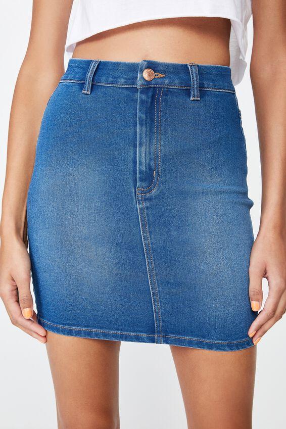 Chloe Stretch Denim Mini Skirt, REBEL BLUE