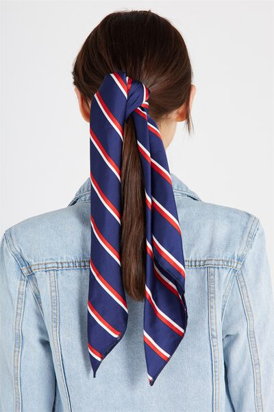 Satin Scarf, NAVY STRIPE