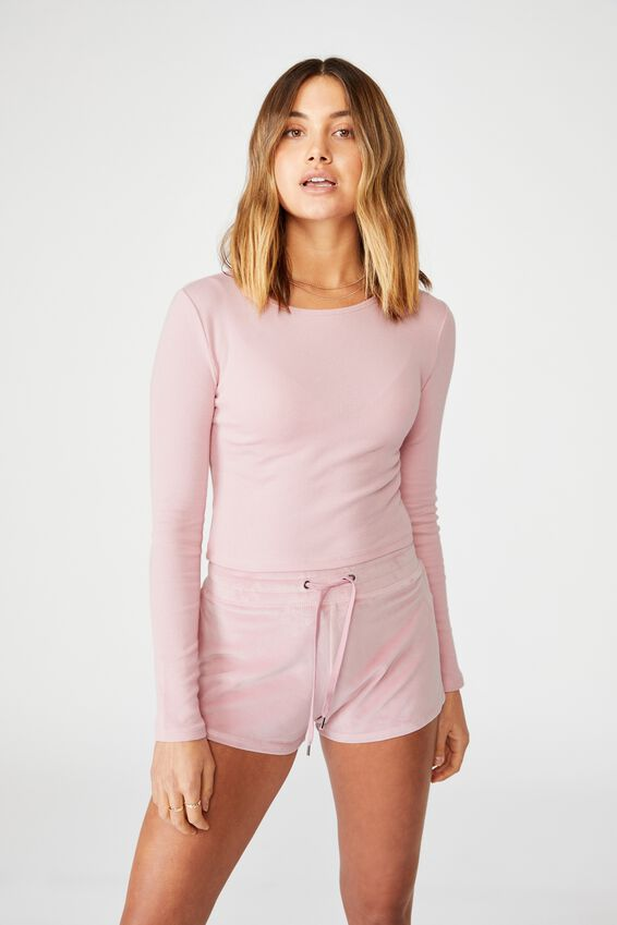 Ash Long Sleeve Rib Top, BLOSSOM PINK
