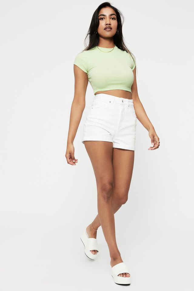 Alissa Fitted Rib Crew Top, SOFT LIME