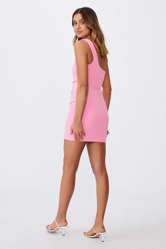 Evelyn One-Shoulder Ponte Dress, PUNCH PINK