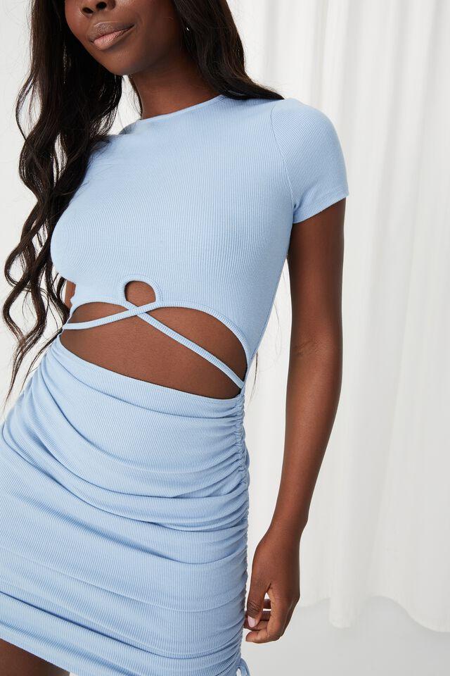 Julia Cut Out Ruched Dress, EURO BLUE