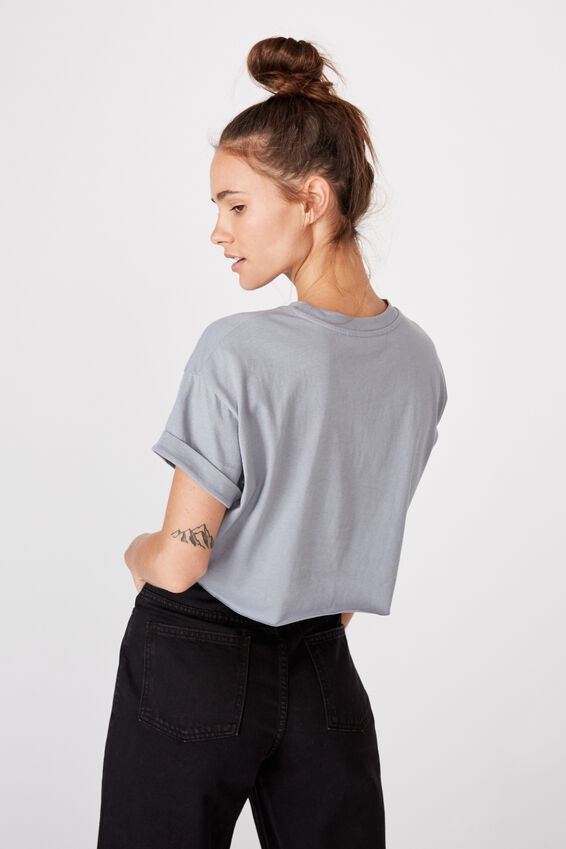 Tamara Printed Crop T Shirt, BLUE GREY/RETRO SAN FRANCISCO