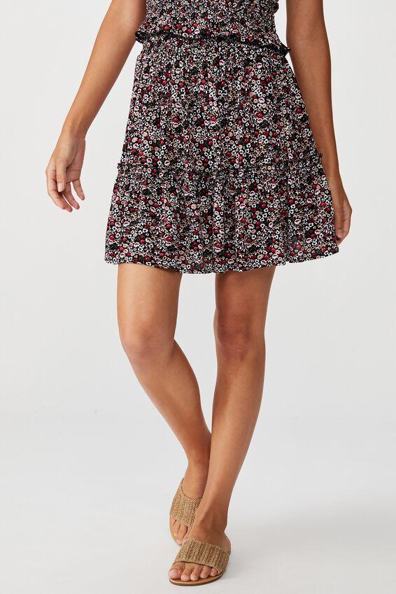 Kaiya Frill Hem Skirt, PEONIES IN PARIS BLACK