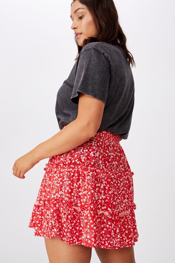 Tully Tiered Skirt, RED SPRIG
