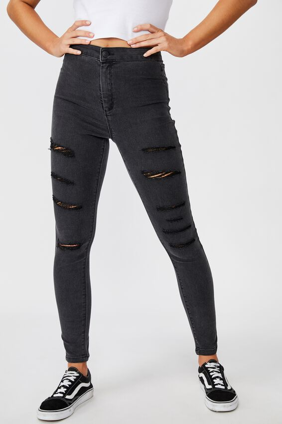 Super Skinny Sky High Ripped Jean, DUSTY BLACK RIPPED