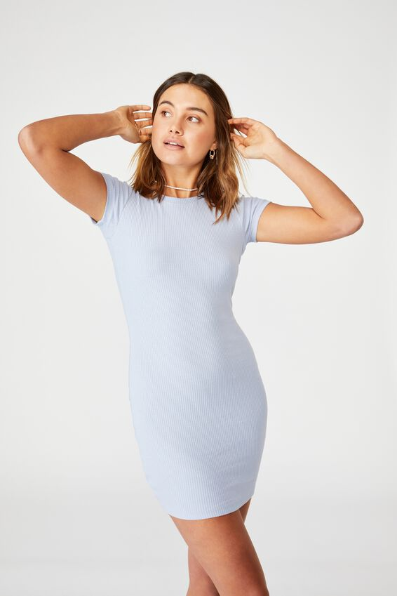 Lucia Rib Tee Mini Dress, WINTER SKY BLUE