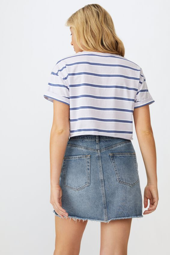 Ciara Crop Tee, COLLEGE STRIPE (WHT/J.BLUE/LILAC