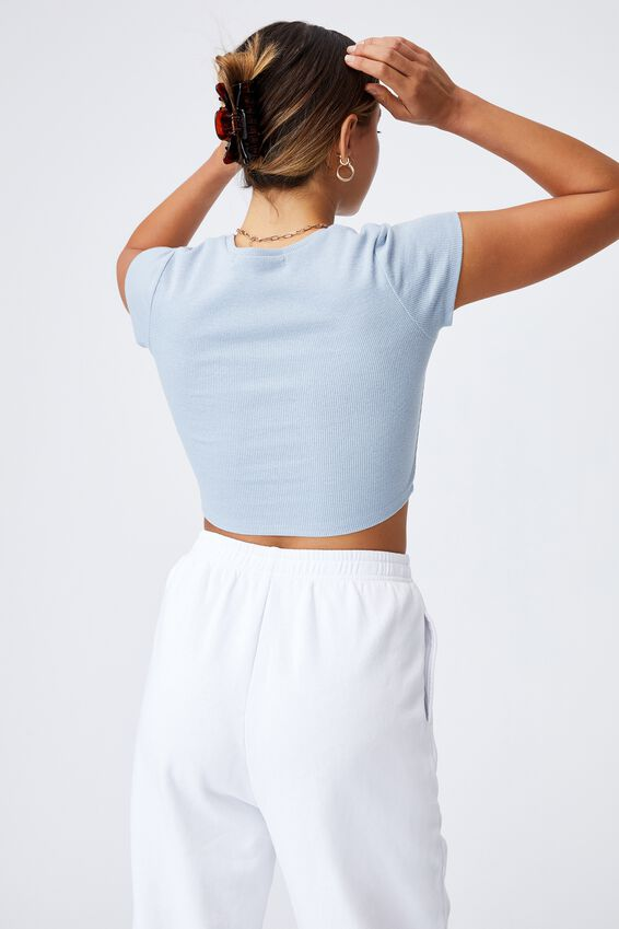 Alissa Fitted Crew Top, LEISURE BLUE